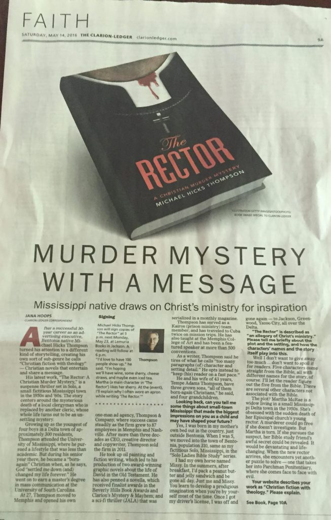The Clarion Ledger Reviews The Rector in their Faith Section